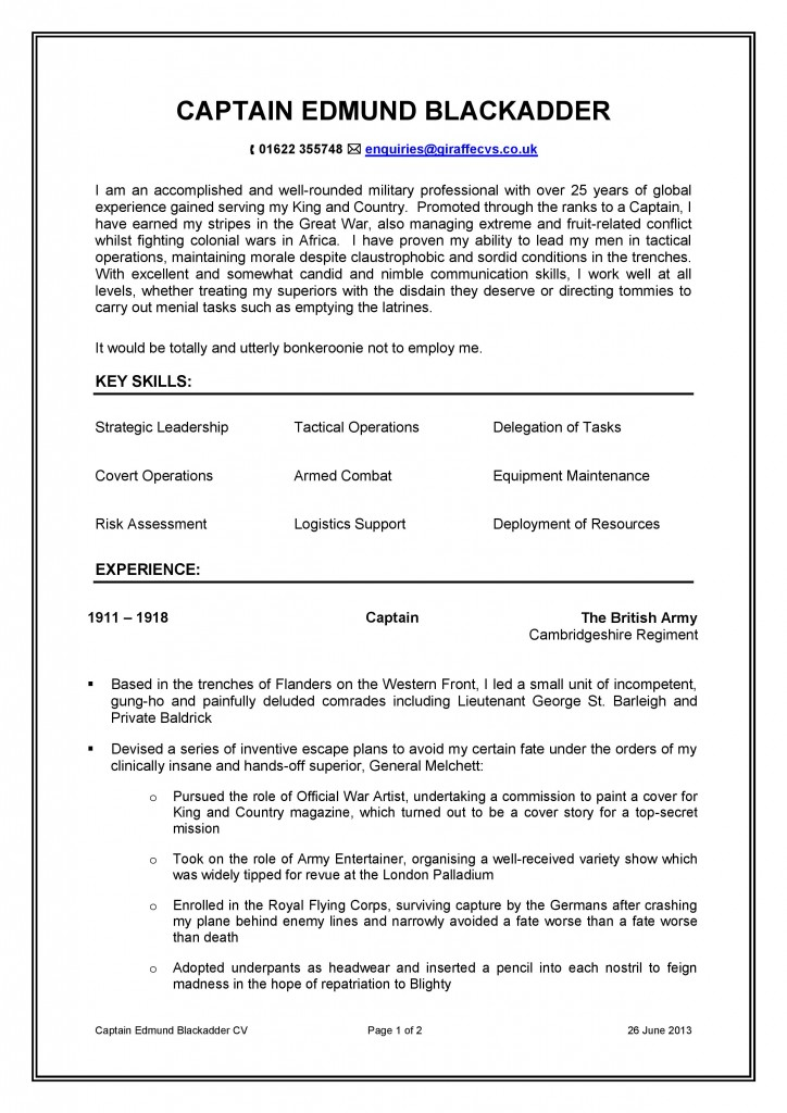 Resume and cv writing service ex military