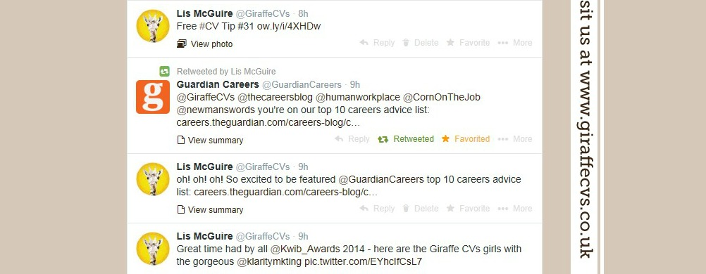 Guardian Careers tweet about Giraffe CVs