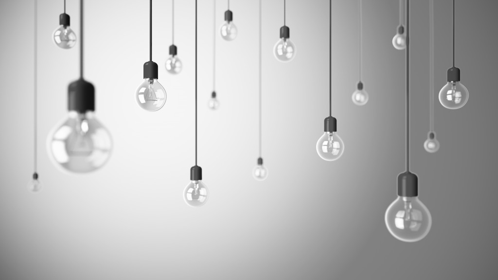 Light bulbs on grey background 3D